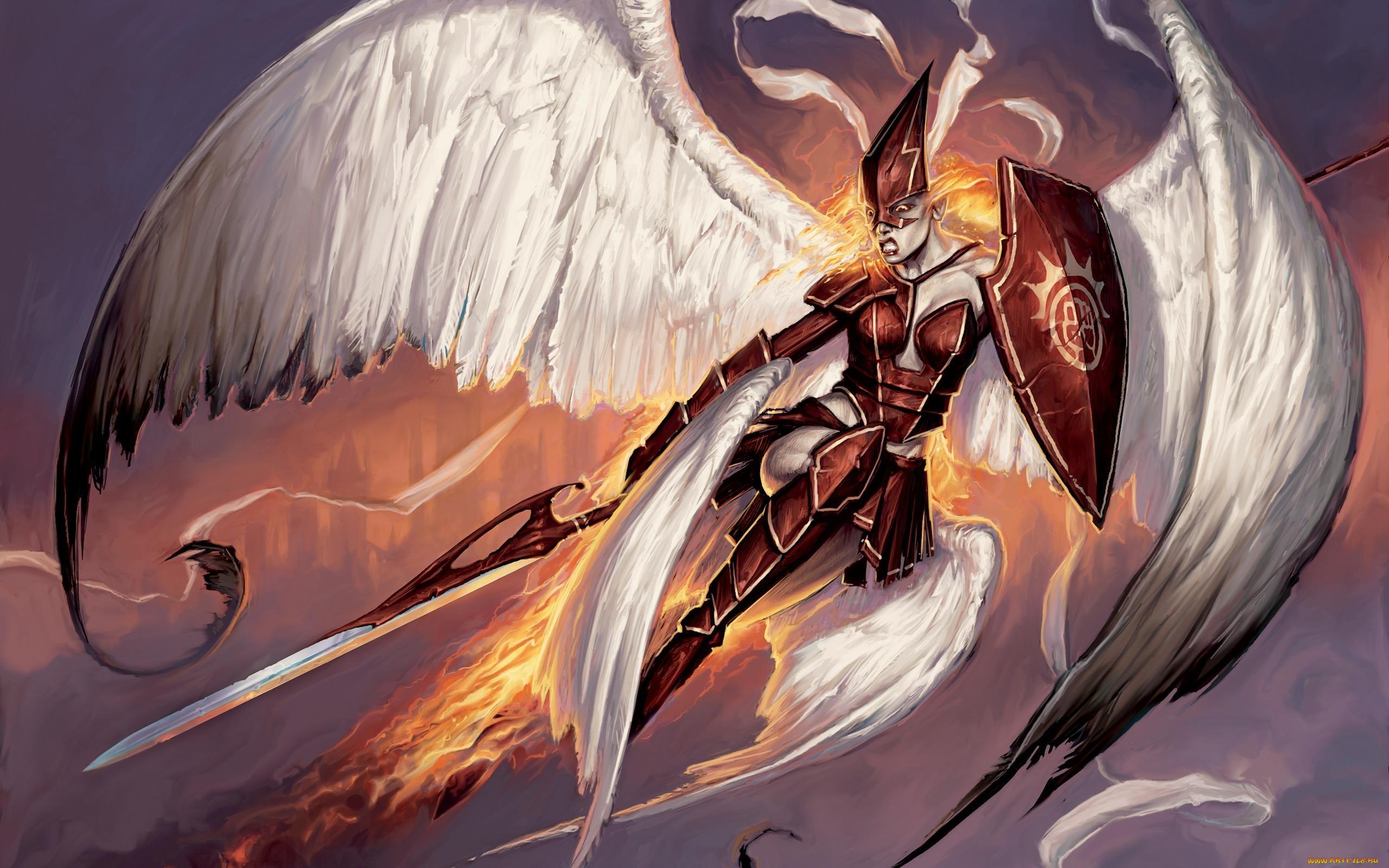 чудотворной картинки фэнтези щитов с мечами массажем